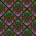 Embroidery colorful Baroque vector seamless pattern. Textured or
