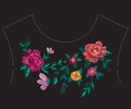Embroidery colorful ethnic neck line floral pattern with big ros