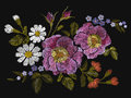 Embroidery colorful floral pattern with dog roses and forget me not flowers. Vector traditional folk fashion ornament on black bac