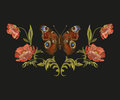 Embroidery colorful floral pattern with peacock butterfly. Royalty Free Stock Photo