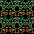 Embroidery colorful floral seamless pattern. Tapestry vector background with vintage grunge embroidered flowers, swirl green Royalty Free Stock Photo