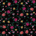 Embroidery colorful simplified ethnic floral seamless pattern.