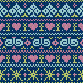 Embroidery cross stitch style vector illustration of seamless pattern Royalty Free Stock Photo