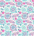 Embroidery. Decorative seamless floral pattern. Retro background with flowers, hearts and butterflies