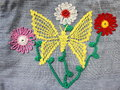 Embroidery on denim crochet of colorful thread Stock Images