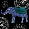 Embroidery elephant fabric design
