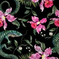 Embroidery exotic floral pattern with lizards and tropical flower.