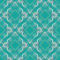 Embroidery floral 3d seamless pattern. Damask tapestry blue back Royalty Free Stock Photo