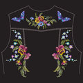 Embroidery floral pattern with pansies for jeans jacket back.