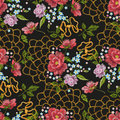 Embroidery floral seamless pattern with dog roses, forget-me-not flowers.