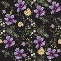 Embroidery floral seamless pattern with ethnic violets. Royalty Free Stock Photo
