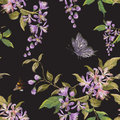 Embroidery floral seamless pattern with lilac blossom, butterfly