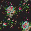 Embroidery floral seamless pattern with skull and roses. Royalty Free Stock Photo