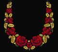 Embroidery flower necklace ornament red rose vintage retro gold
