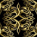Embroidery gold Paisley vector seamless pattern. Tapestry orname