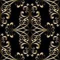 Embroidery gold vintage vector seamless pattern. Tapestry orname
