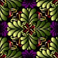 Embroidery green floral vector seamless pattern. Tapestry orname