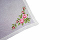 Embroidery hand made on tissue Stock Photos