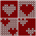 Embroidery of hearts, seamless background Royalty Free Stock Photography