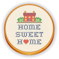 Embroidery home sweet home cross stitch with a big red heart decorative needlework sewing design on fabric in retro wood hoop Stock Photography