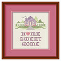 Embroidery home sweet home cross stitch wood hoop mahogany picture frame with design in pastel colors needlework heart house Royalty Free Stock Image