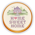 Embroidery home sweet home cross stitch wood hoop retro with design in pastel colors needlework heart house picket fence in Royalty Free Stock Photo
