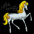 Embroidery horse fabric design