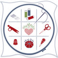 Embroidery Icons: Red,White&Blue Stock Image