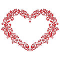 Embroidery inspired  love heart shape pattern in red with floral elements   on white  background with black stroke Royalty Free Stock Photo