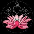 Embroidery lotus fabric design