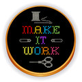 Embroidery make it work cross stitch wood hoop retro with rainbow multicolor needlework sewing design black motto on black fabric Stock Images
