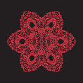 Embroidery mandala. In red on black background. Stock line