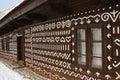 Chalupa v Čičmanoch s motivem výšivky
