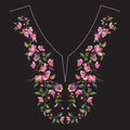 Embroidery neck line floral pattern with oriental cherry blossom