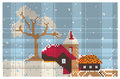 Embroidery pattern christmas town and trees illustration Stock Photo