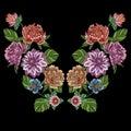Embroidery peony dahlia chrysanthemum flowers