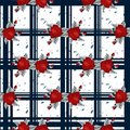 Embroidery red flowers pattern and blue tartan seamless pattern. Good for tablecloth, fabric, tissue.