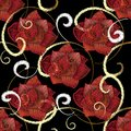 Embroidery red roses seamless pattern. Vector embroidered flower
