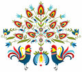 Embroidery roosters polish folk traditional design with floral Stock Images