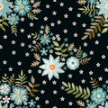 Embroidery seamless pattern with beautiful blue and white flowers on black background. Fashion print for fabric and textile.