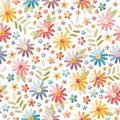 Embroidery seamless pattern. Beautiful flowers and leaves isolated on white background. Colorful fancywork.