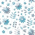 Embroidery seamless pattern with blue flowers on white background. Stylish design for fabric, textile, wrapping paper, print, card