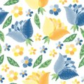 Embroidery seamless pattern with blue and yellow flowers on white background. Fashion design for fabric, textile, wrapping paper