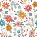 Embroidery seamless pattern with bright colorful flowers on white background.