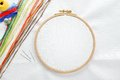 Embroidery set with copy space white linen fabric hoop colorful threads and needls Stock Photo