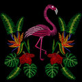 Embroidery stitches with flamingo bird, tropic hibiscus flowers.