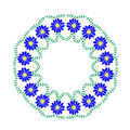 Embroidery stitches imitation floral frame with blue flower and