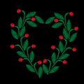 Embroidery stitches imitation floral frame with green leaf and r