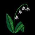Embroidery stitches imitation floral pattern with lilies of the