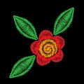 Embroidery stitches imitation folk flower with green leaf